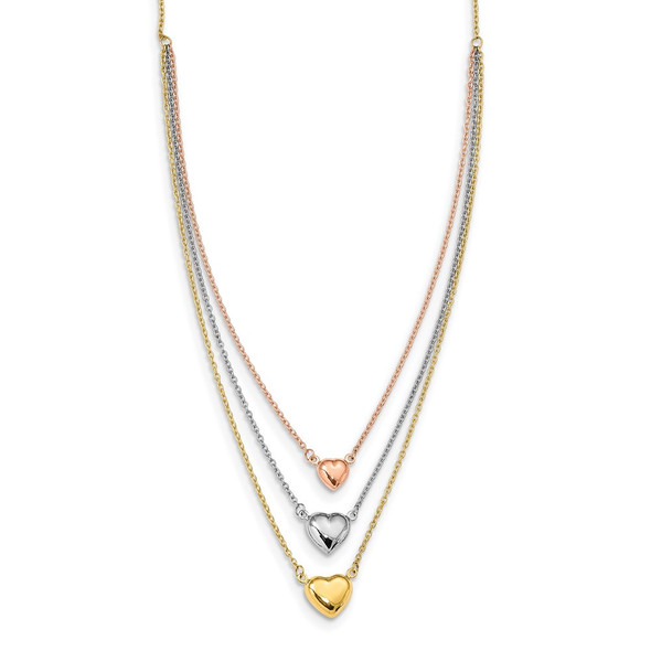 14K Tri-color Gold Three Heart w/ 1in ext. Necklace