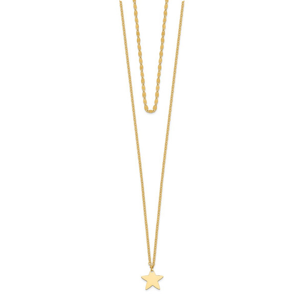 14k Yellow Gold Star 2 Layer Adjustable from 13-16in Choker Necklace
