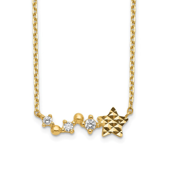 14k Yellow Gold Diamond-Cut Star CZ with 2IN EXT Necklace