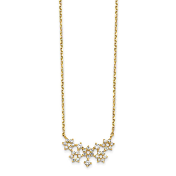 14k Yellow Gold CZ Cluster with 2IN EXT Necklace