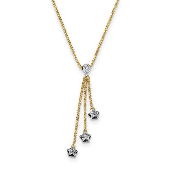 14k Two-tone Gold Diamond-cut 3-Stars w/2in Ext.Necklace