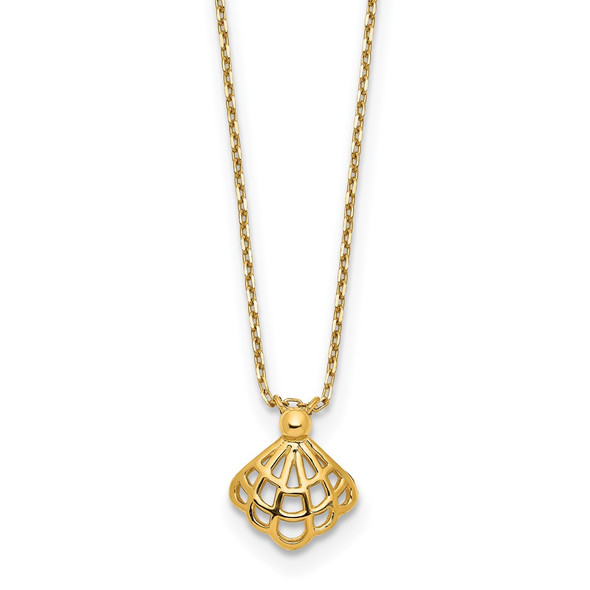 14k Yellow Gold Polished Seashell w/1.25 in ext Necklace