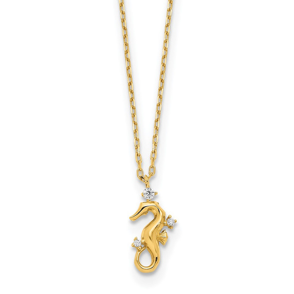 14k Yellow Gold Polished CZ Seahorse w/1.25 in ext Necklace