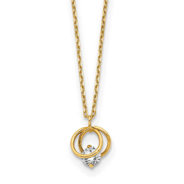 14k Yellow Gold Polished CZ Double Circle 15in w/1in ext Necklace