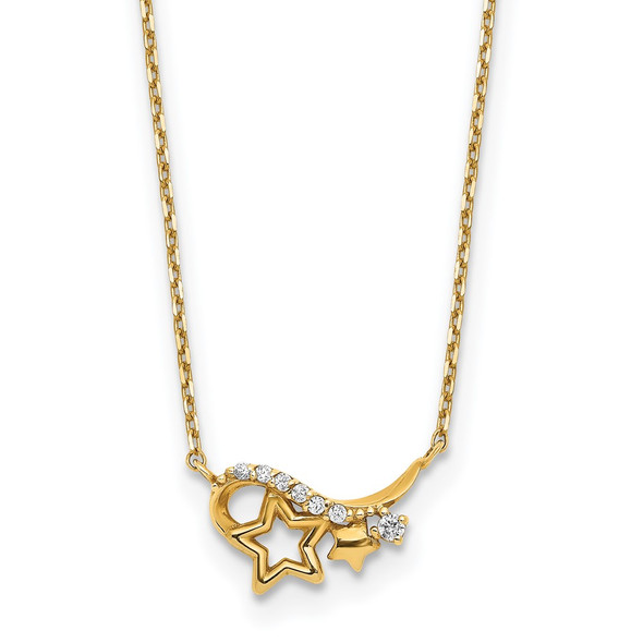 14k Yellow Gold Polished CZ Star 15in w/1in ext Necklace