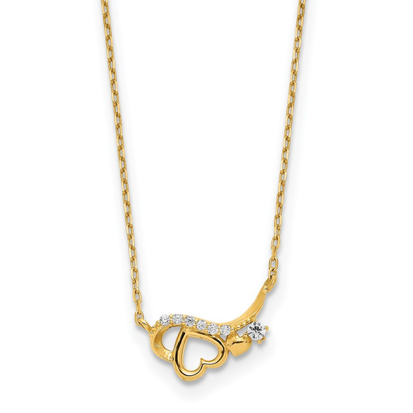 14k Yellow Gold Polished CZ Heart w/1.25 in ext Necklace