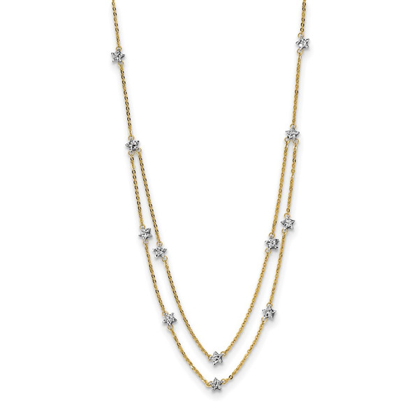 14K Two tone Gold Double Chain Star Necklace
