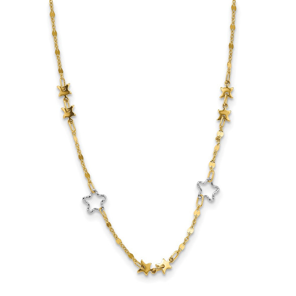 14K Two-tone Gold Polished Star Necklace