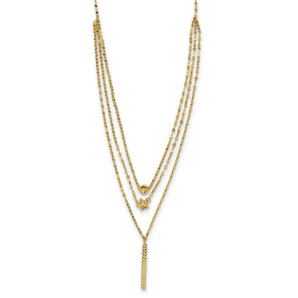 14k Yellow Gold Three Layer Diamond-cut Bead/Star/Bar Necklace