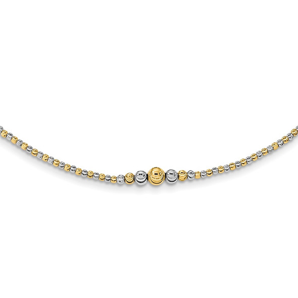 14K Two-tone Gold Polished Diamond-cut Beaded 17in Necklace