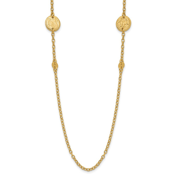 14k Yellow Gold Polished Coins Necklace