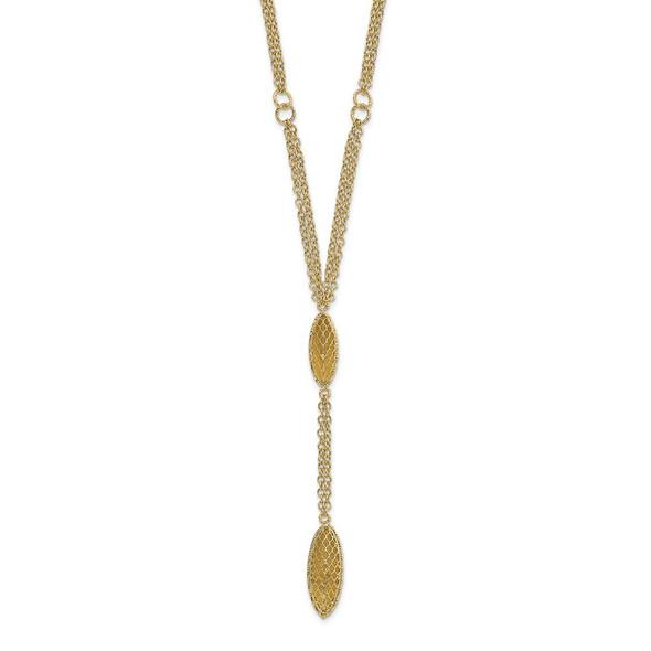 14k Yellow Gold Fancy Y Diamond-cut Drop w/1in ext. Necklace