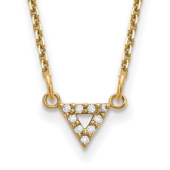14k Yellow Gold AA Quality Diamond 6mm Triangle Necklace