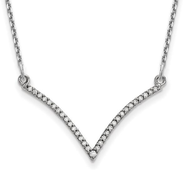 14k White Gold A Diamond V Necklace