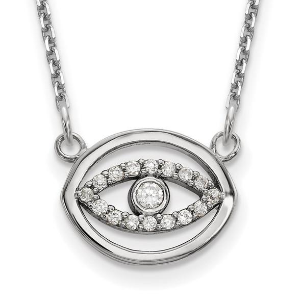 14k White Gold Small Necklace Diamond Halo Evil Eye