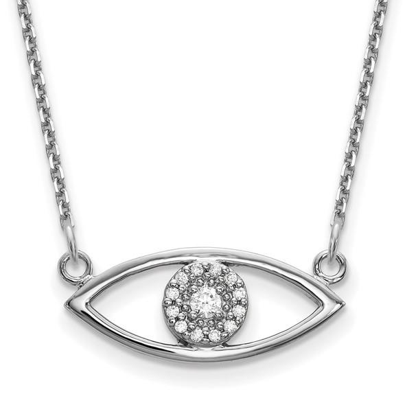 14k White Gold Small Necklace Diamond Evil Eye