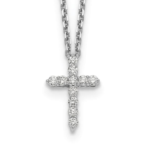 14k White Gold Diamond Cross 18 inch Necklace PM1000-025-WA