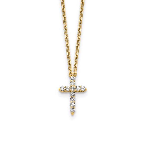 14k Yellow Gold Diamond Cross 18 inch Necklace PM1000-025-YA