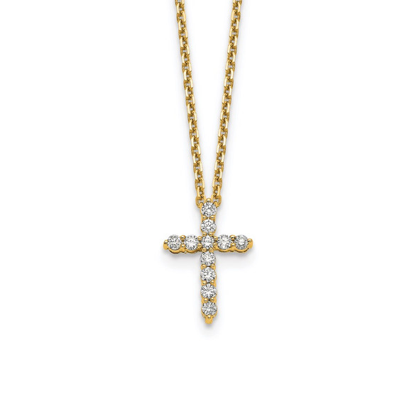 14k Yellow Gold Diamond Cross 18 inch Necklace PM1000-033-YA
