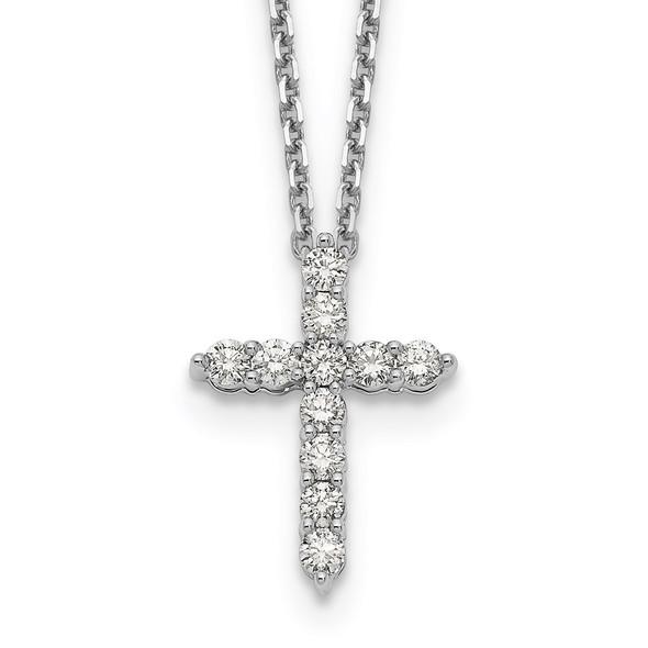 14k White Gold Diamond Cross 18 inch Necklace PM1000-050-WA