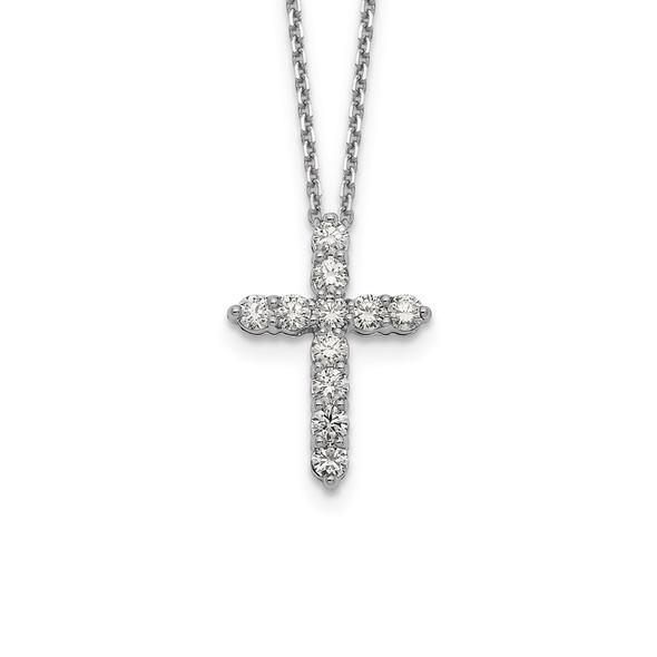 14k White Gold Diamond Cross 18 inch Necklace PM1000-100-WA