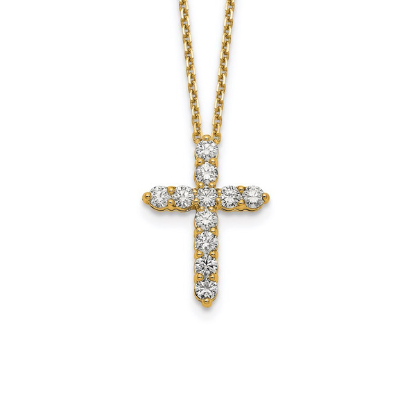 14k Yellow Gold Diamond Cross 18 inch Necklace PM1000-100-YA