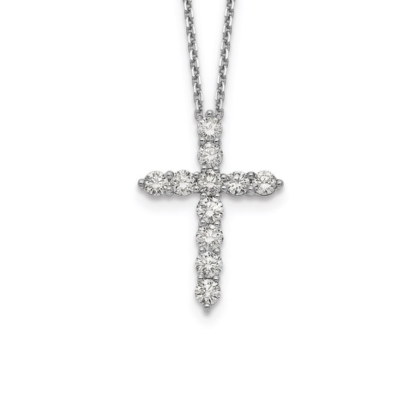 14k White Gold Diamond Cross 18 inch Necklace PM1000-150-WA