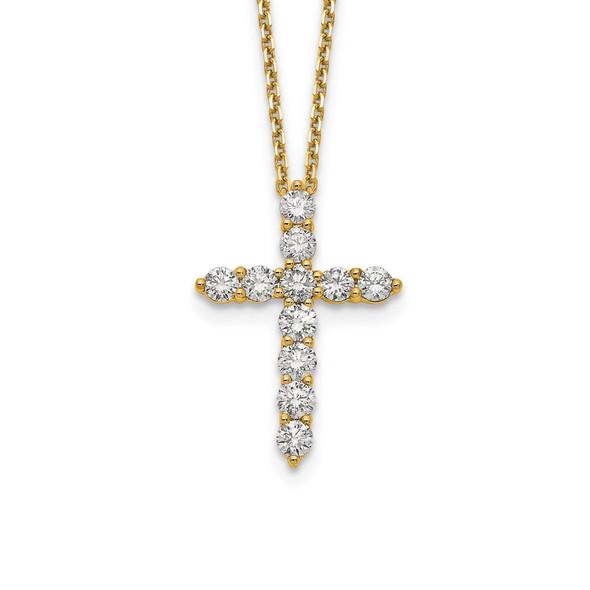 14k Yellow Gold Diamond Cross 18 inch Necklace PM1000-150-YA