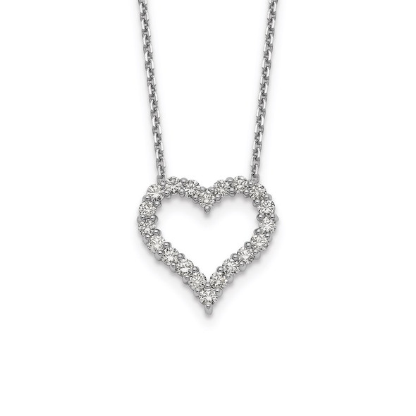 14k White Gold Diamond Heart 18 inch Necklace PM1001-100-WA
