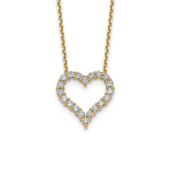 14k Yellow Gold Diamond Heart 18 inch Necklace