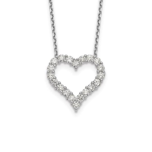 14k White Gold Diamond Heart 18 inch Necklace PM1001-150-WA