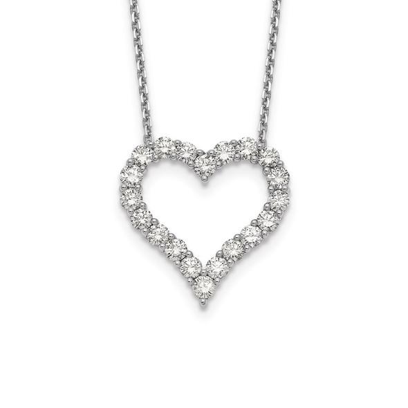 14k White Gold Diamond Heart 18 inch Necklace PM1001-200-WA
