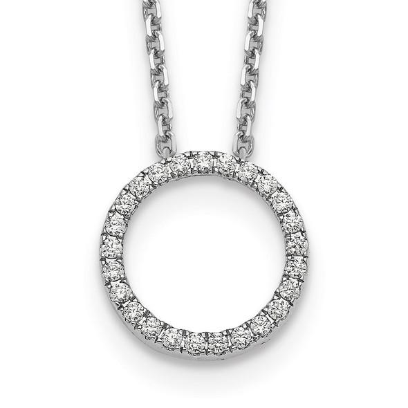 14k White Gold Diamond Circle 18 inch Necklace PM1002-025-WA