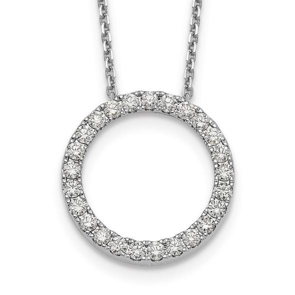 14k White Gold Diamond Circle 18 inch Necklace PM1002-100-WA