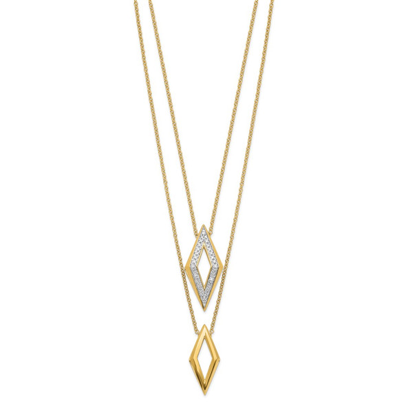 14k Yellow Gold Polished Fancy Double Strand Diamond 16in Necklace