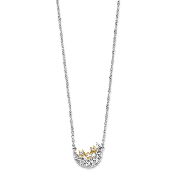 14k Two-tone Gold Moon w/3-Stars Diamond 18in Necklace
