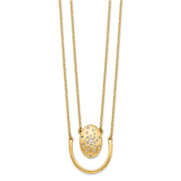 14k Yellow Gold Satin/Polished Diamond Oval w/Bar Double Strand 18in Necklace