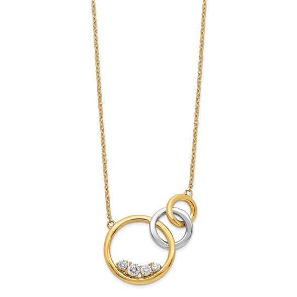 14k Two-tone Gold Polished Diamond Triple Circle 18in Necklace