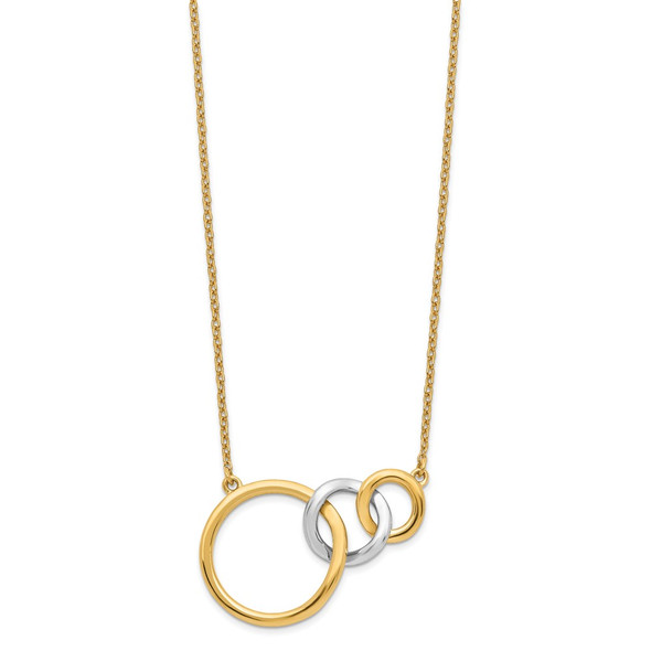14k Two-tone Gold Polished Triple Circle 18in Necklace