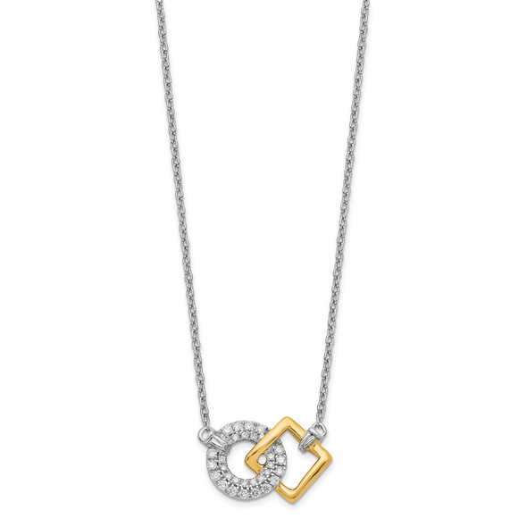 14k Two-tone Gold Polished Diamond Circle and Square 18in Necklace