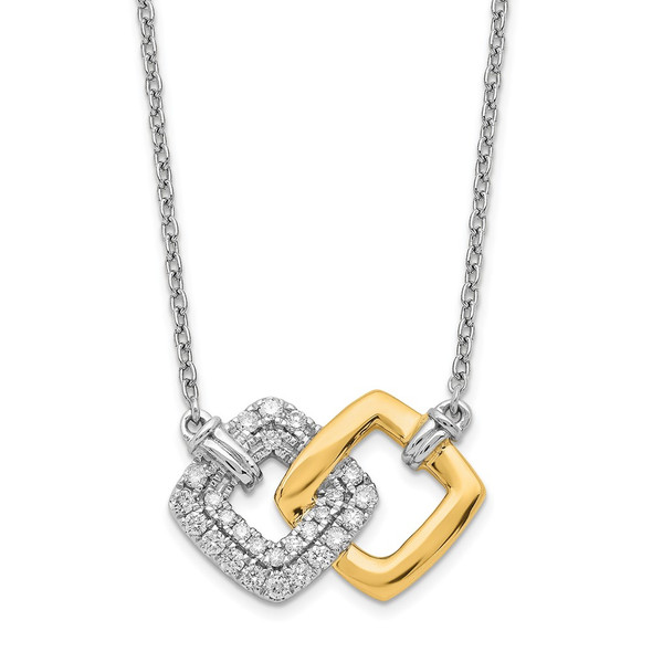 14k Two-tone Gold Polished Diamond Double Square 18in Necklace