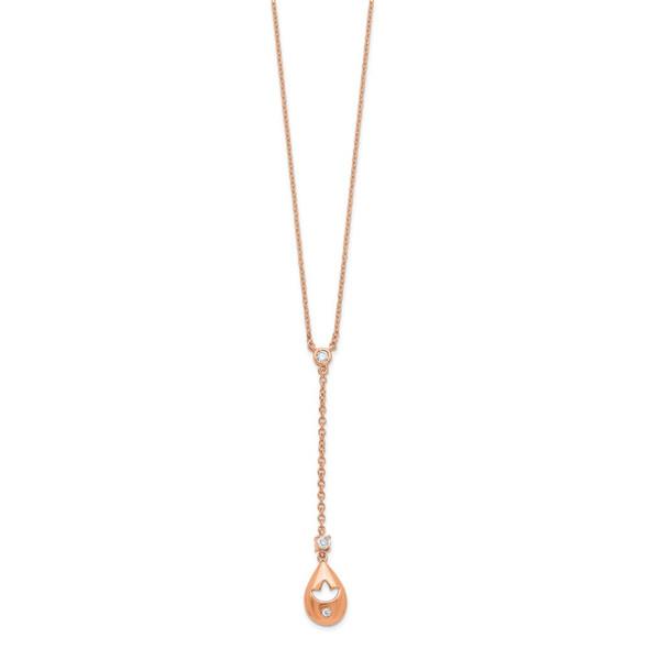 14k Rose Gold Diamond Teardrop w/Flower Dangle 18in Necklace