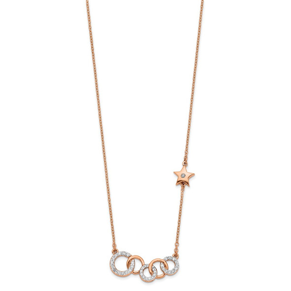 14k Rose Gold Diamond Circles w/Star 18in Necklace