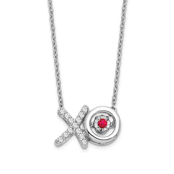 14k White Gold Ruby/Diamond X and O Vibrant Gemstone Necklace