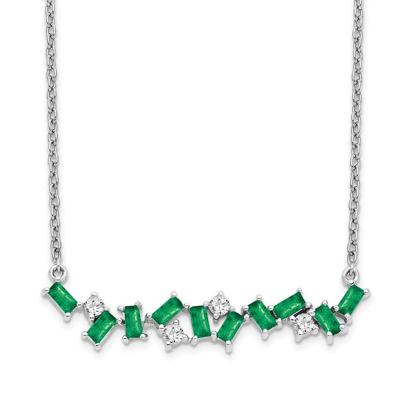 14k White Gold Emerald and Diamond 18 in. Bar Necklace