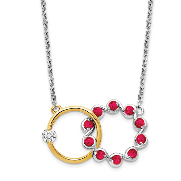 14k Two-tone Gold Ruby and Diamond 18in. Circles Necklace