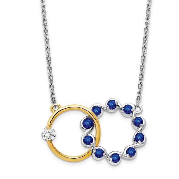 14k Two-tone Gold Sapphire and Diamond 18in. Circles Necklace