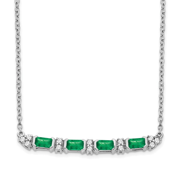 14k White Gold Emerald and Diamond 18in. Bar Necklace PM7225-EM-010-WA