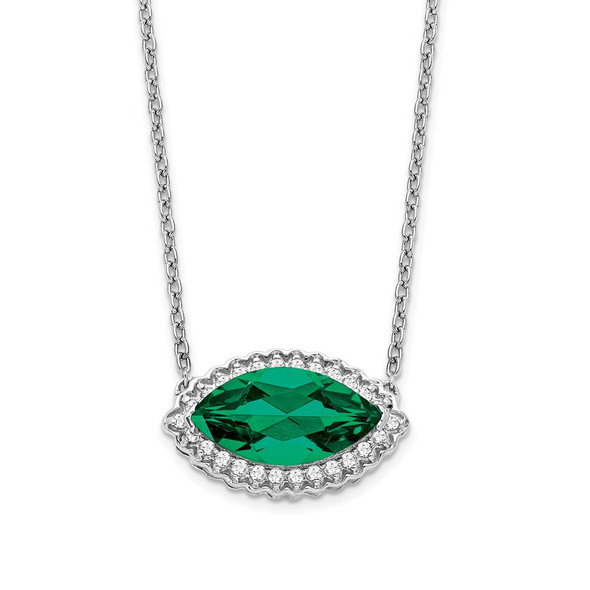 14k White Gold Marquise Created Emerald/Diamond 18in. Halo Necklace