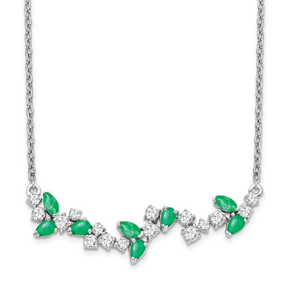14k White Gold Emerald and Diamond 18in. Floral Bar Necklace